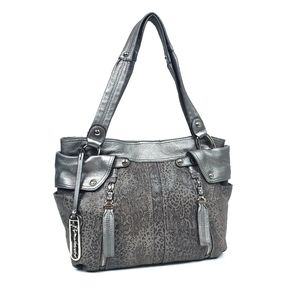 B. Makowsky Gray Python Embossed Leather Bag Purse
